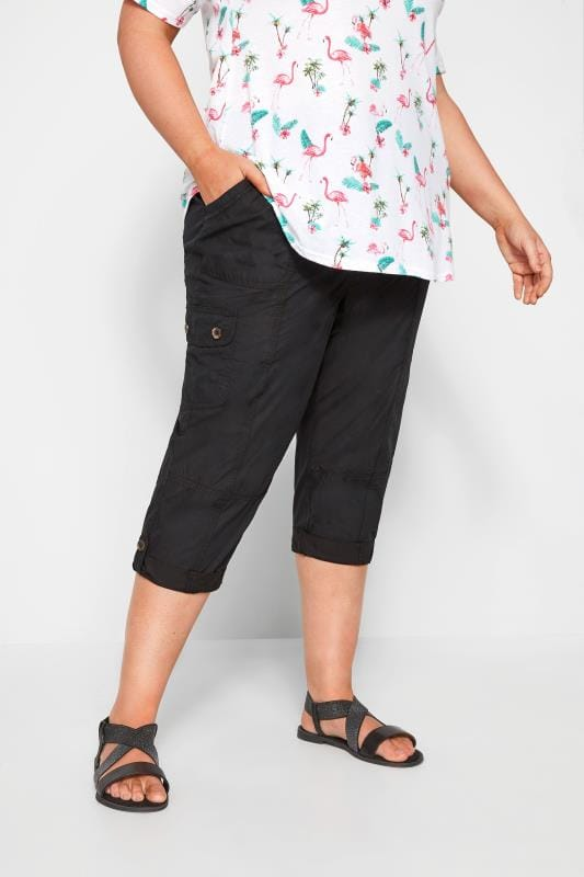 Plus Size Cropped Trousers Black Poplin Cropped Trousers