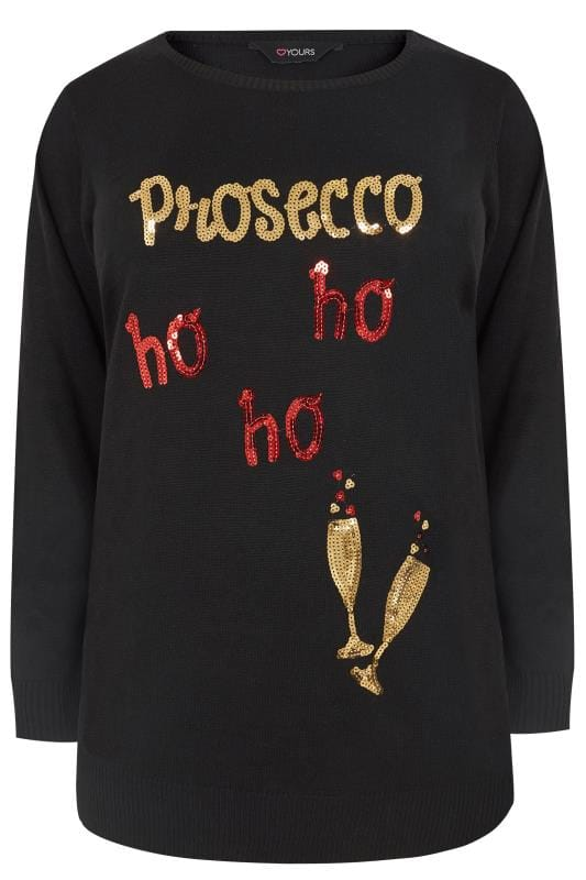 Plus Size Jumpers Black 'Prosecco Ho Ho Ho' Christmas Jumper