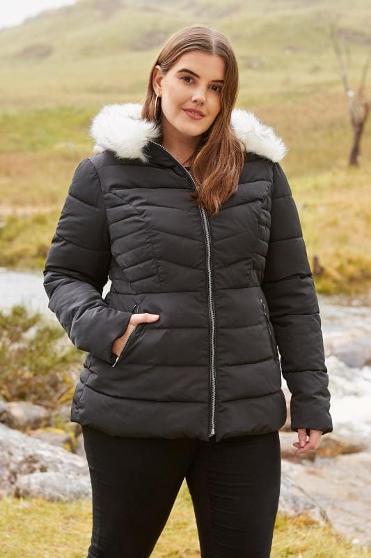 Plus Size Puffer & Quilted Jackets Black Puffer Coat