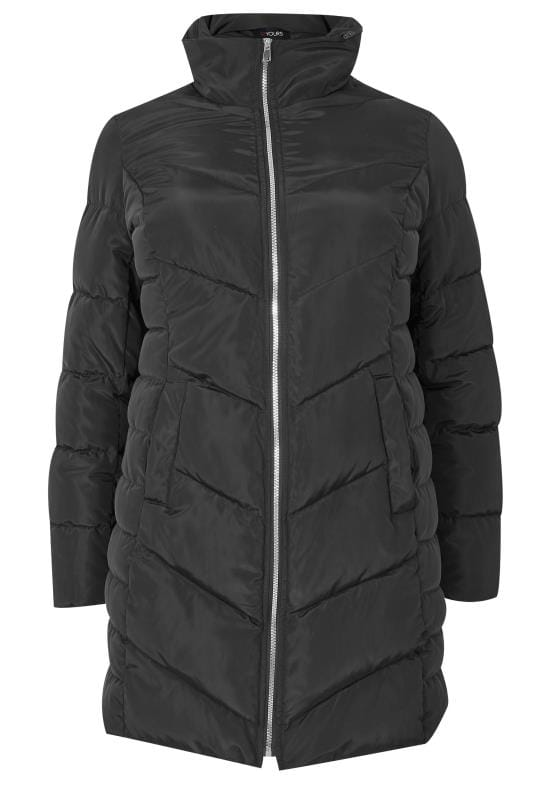 Black Longline Puffa Coat With Zip Out Hood