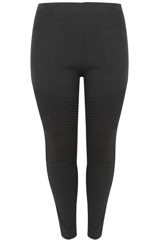 Black Pull On JENNY Biker Jegging