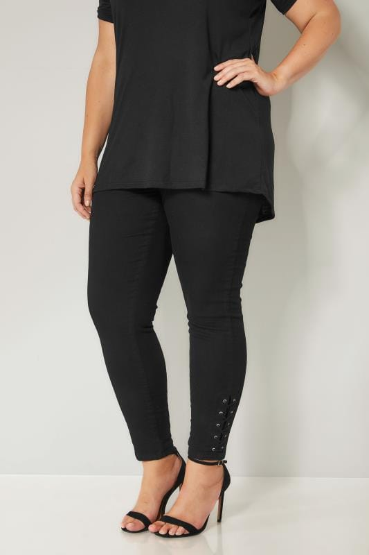 Plus Size Jeggings Black Pull On JENNY Jeggings With Eyelet Detail