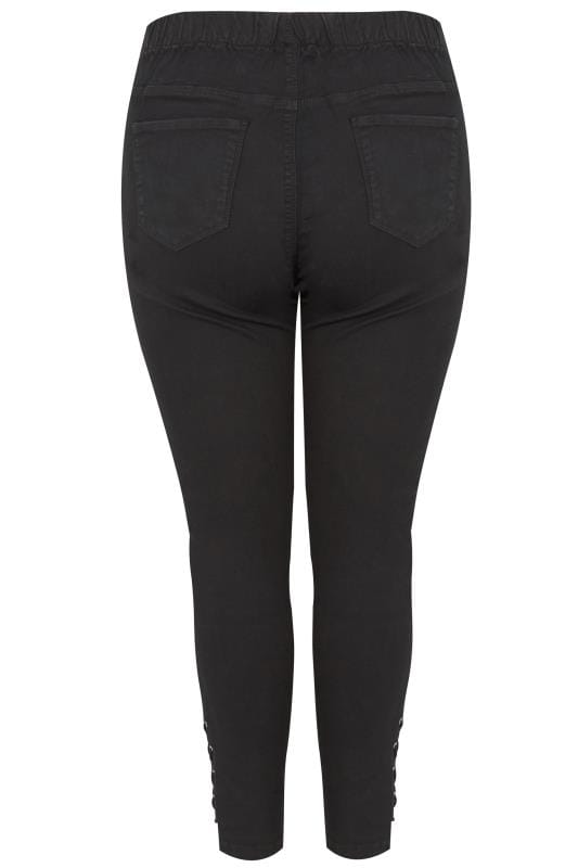 Black Pull On Jenny Jeggings With Eyelet Detail Plus Size