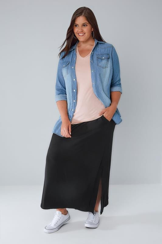 Black Pull On Maxi Skirt With Side Splits