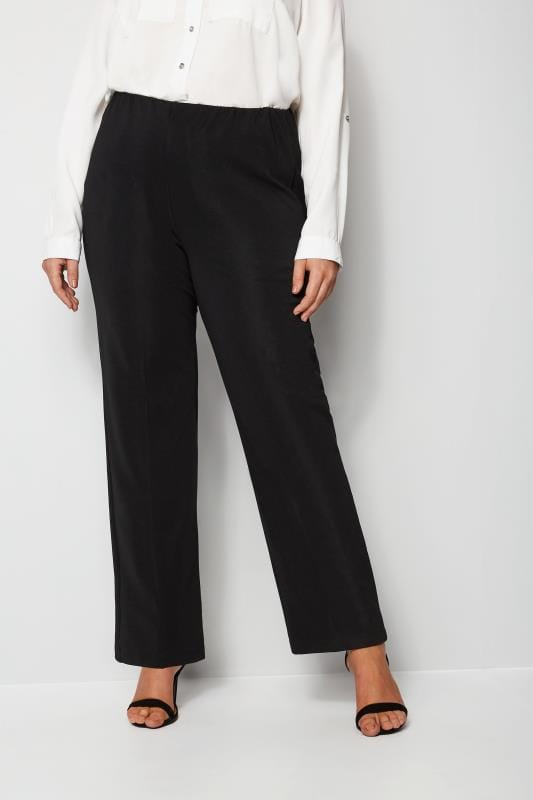 0c6f267299658 Plus Size Bootcut Trousers Black Pull On Ribbed Bootcut Trousers - PETITE