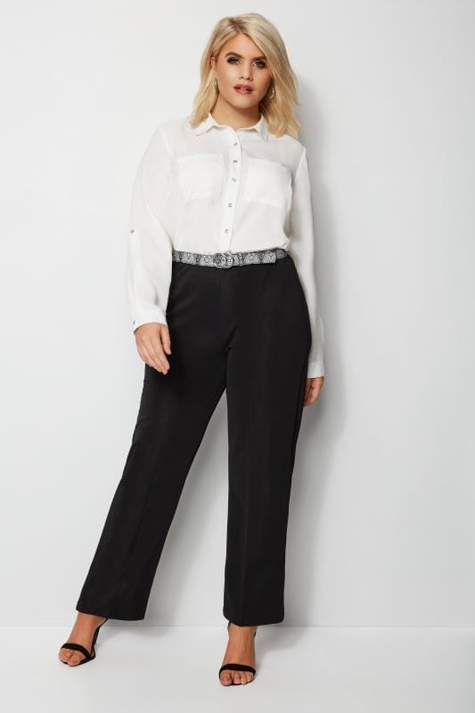 Black Pull On Ribbed Bootcut Trousers