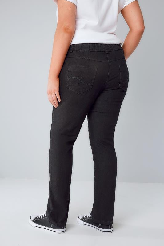 Black Pull On Straight Leg RUBY Jeans