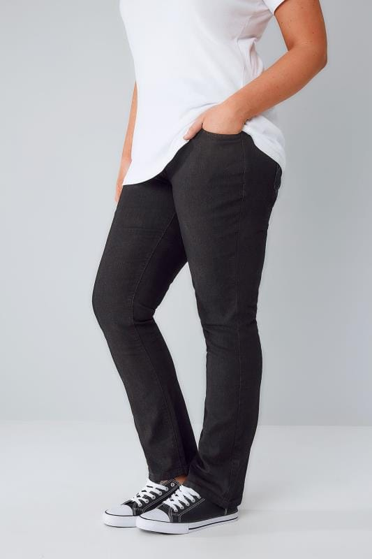 Black Pull On Straight Leg Jeans