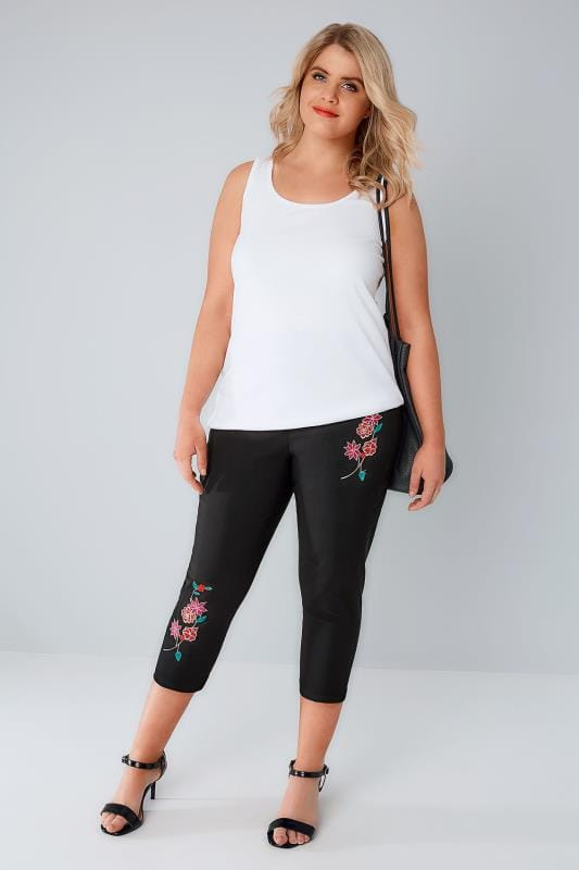Black Pull On Stretch Cropped Trousers With Floral Embroidery Detail