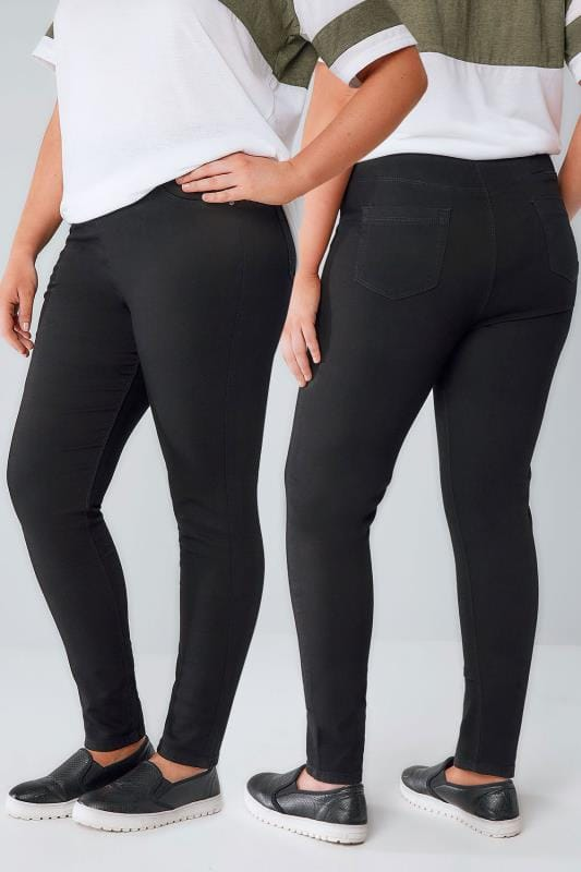 Jeggings Black Pull On Stretch Jeggings 050993