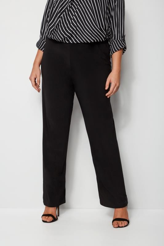 Plus Size Wide Leg & Palazzo Trousers Black Pull On Wide Leg Trousers