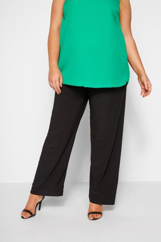 5d41d22ec43fe Plus Size Wide Leg & Palazzo Trousers Black Pull On Wide Leg Trousers