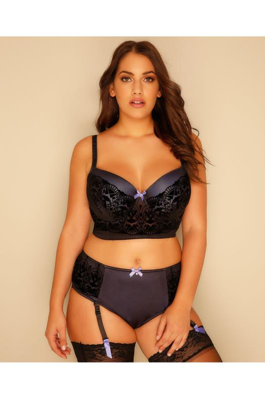 Black & Purple Art Deco Flock Underwired Longline Bra