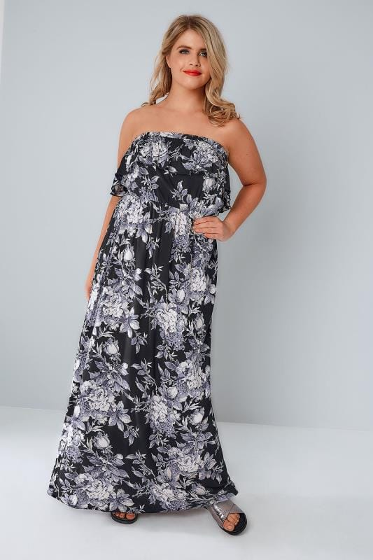 Black & Purple Floral Bandeau Maxi Dress With Frilled Panel