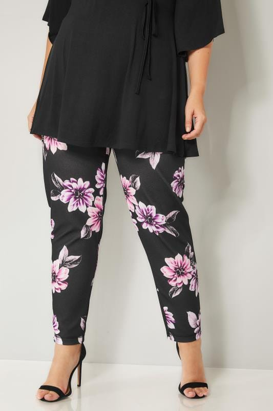 Plus Size Harem Trousers Black & Purple Floral Harem Trousers