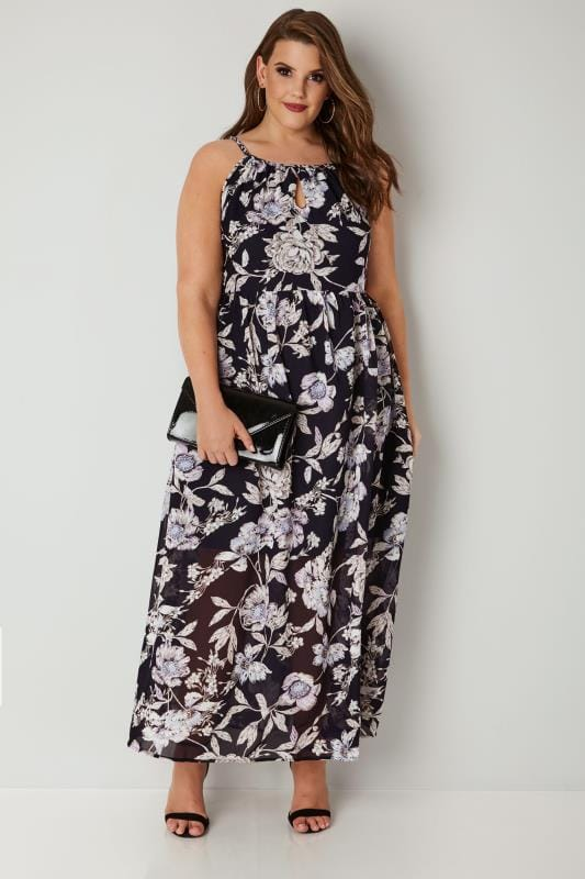 Black & Purple Floral Maxi Dress With Grecian Halter Neckline