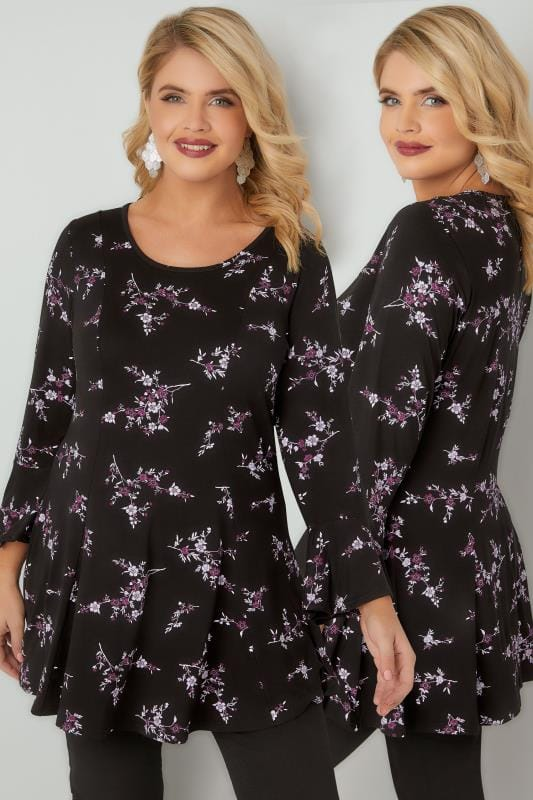 Black & Purple Floral Print Longline Swing Top With Flute Sleeves