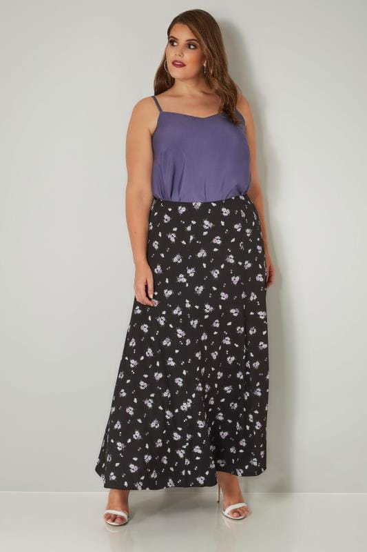 Black & Purple Floral Print Maxi Skirt