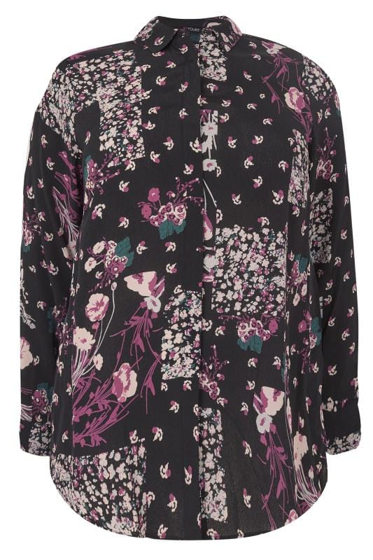Black & Purple Mixed Floral Shirt