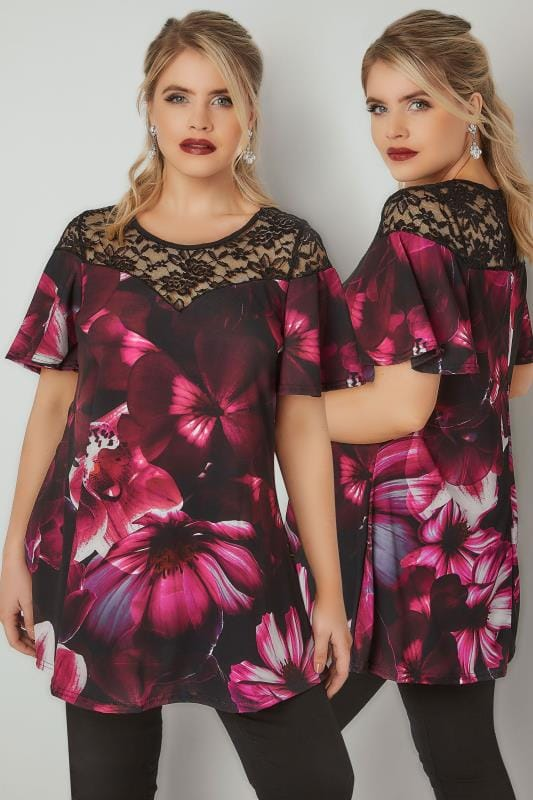 Smart Jersey Tops Black & Purple Floral Print Swing Top With Lace Yoke 134282