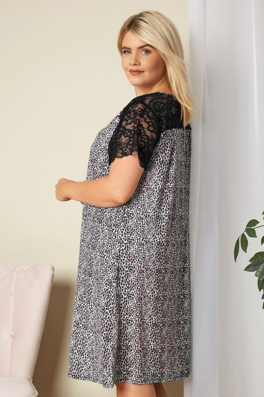 Black & Purple Leopard Print Lace Loungewear Nightdress