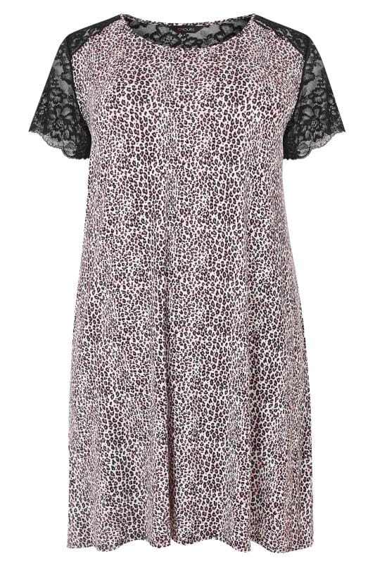 Plus Size Nightdresses & Chemises Black & Purple Leopard Print Lace Loungewear Nightdress