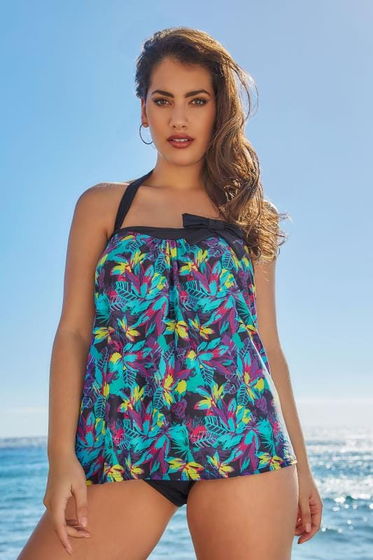 Black, Purple & Multi Electric Floral Print Tankini Top