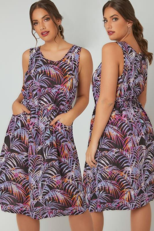 Skater Dresses Black & Purple Palm Print Pocket Dress With Elasticated Waistband 136048