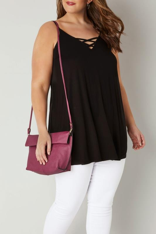 Plus Size Bags & Purses Black & Purple Reversible Roll Top Bag With Detachable Straps