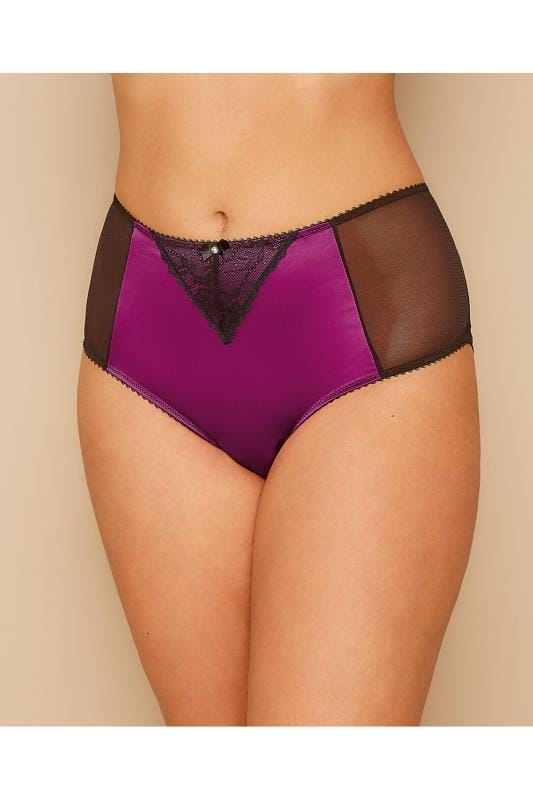 Briefs & Knickers Black & Purple Satin, Lace & Mesh Brief 146083