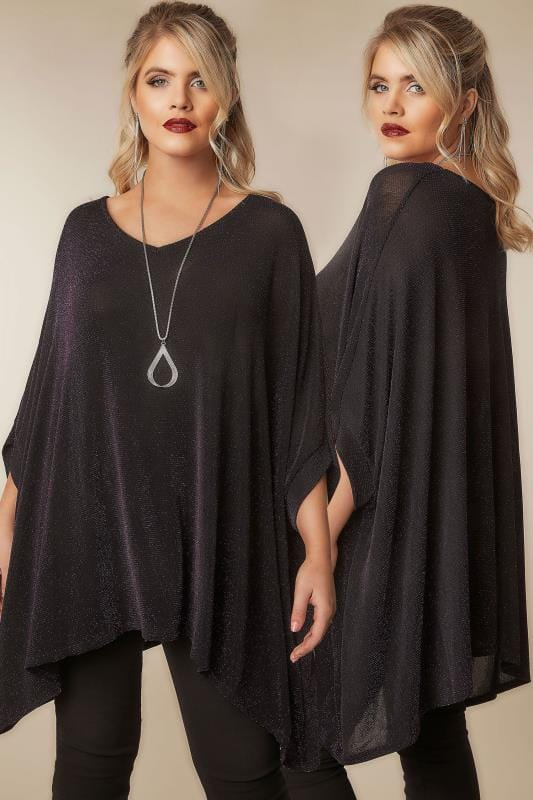 Plus Size Smart Jersey Tops Black & Purple Sparkle Cape Top With Free Necklace