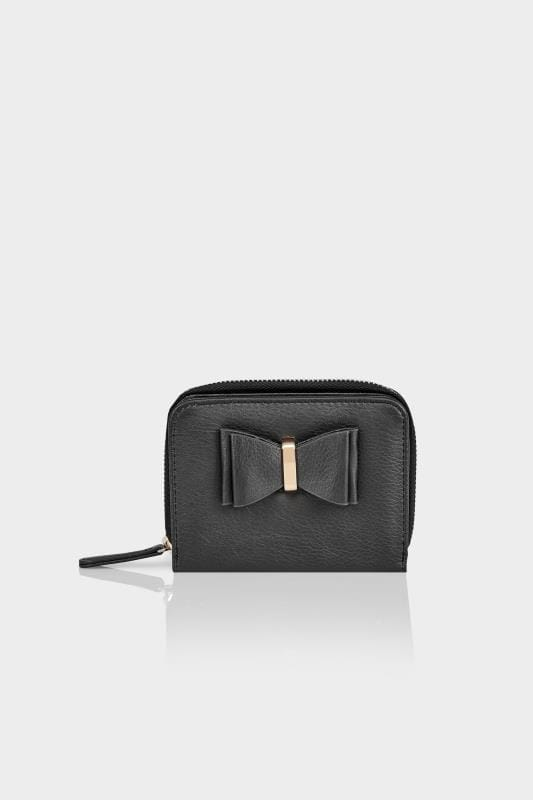 Grote maten Portomonnees Black Purse With Bow Front Detail