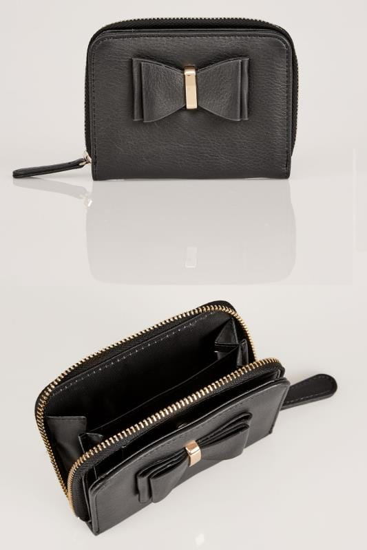 Plus Size Purses Black Purse With Bow Front Detail