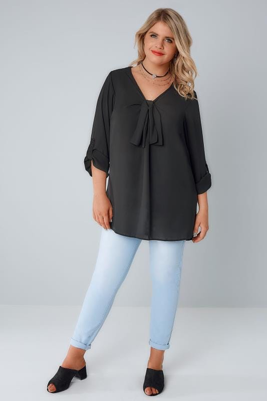 YOURS LONDON Black Pussy Bow Blouse