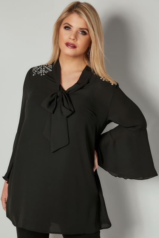 Plus Size Blouses YOURS LONDON Black Pussy Bow Blouse With Studded Details