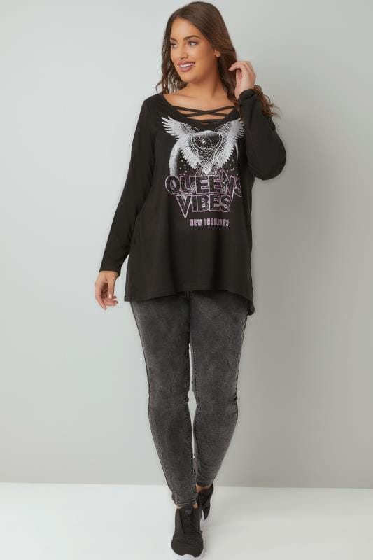 Black 'Queen Vibes' Slogan Print Top With Lattice Neckline