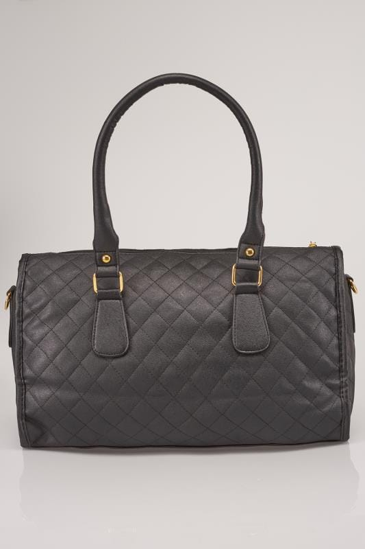 Black Quilted Bag With Shoulder Strap & Gold Tone Heart Detail