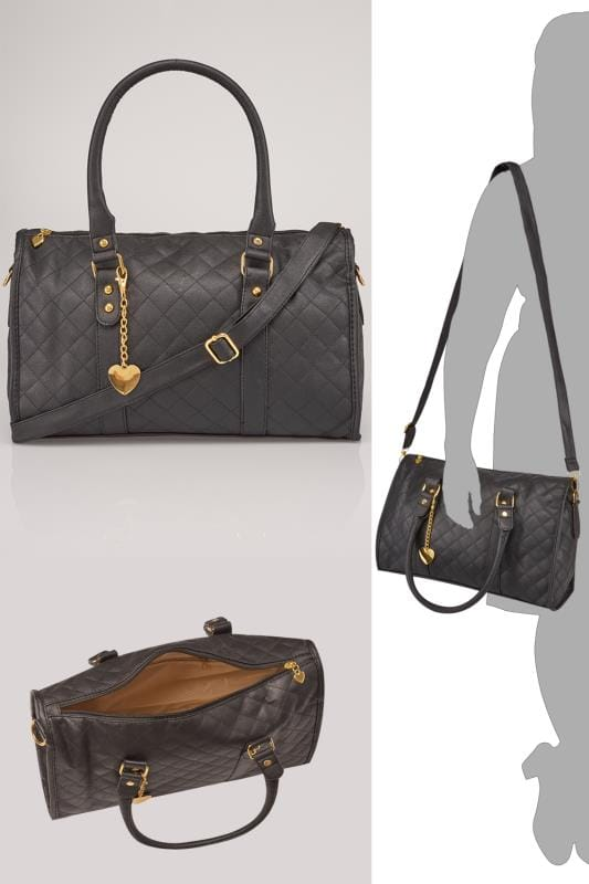 Shoulder Bags Black Quilted Bag With Shoulder Strap & Gold Tone Heart Detail 152423