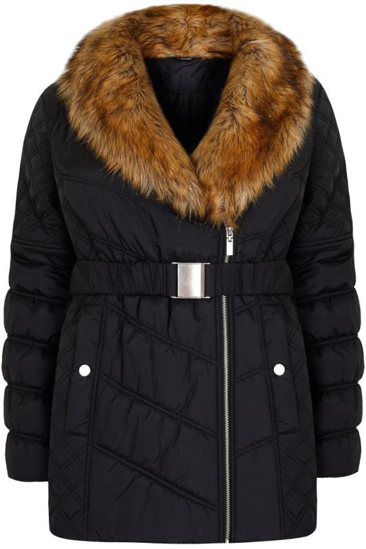 Black Quilted Puffer Jacket With Tan Faux Fur Collar