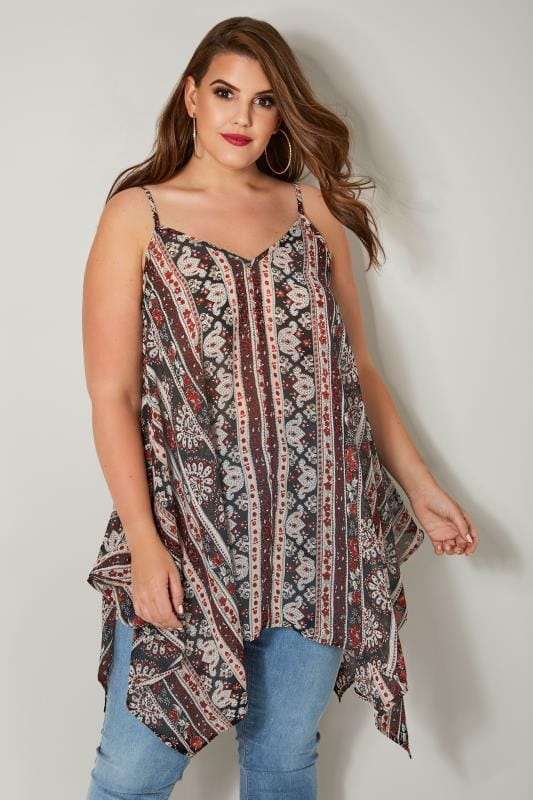 Plus Size Day Tops Black & Red Aztec Print Cami Top With Hanky Hem