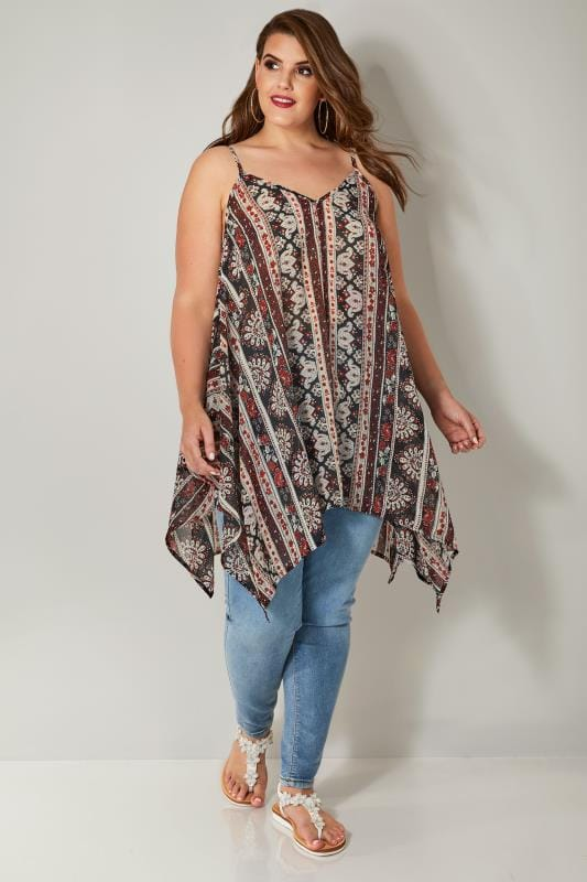 Black & Red Aztec Print Cami Top With Hanky Hem