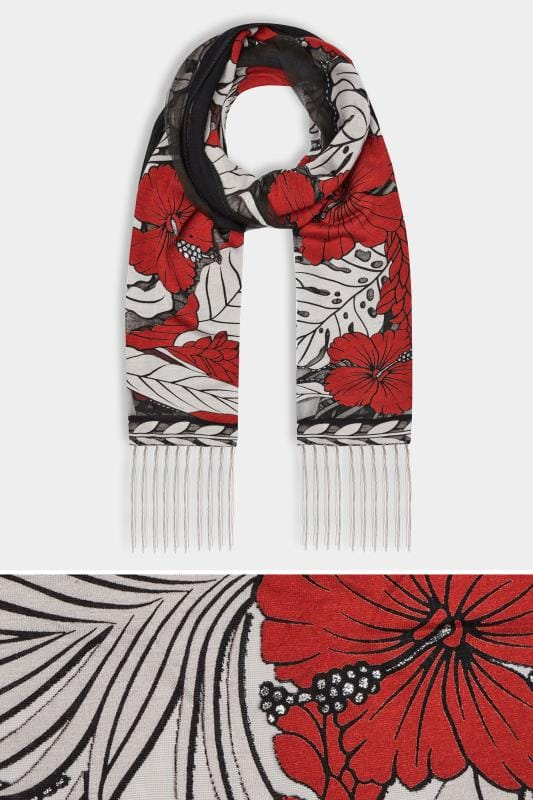 Black & Red Floral Scarf
