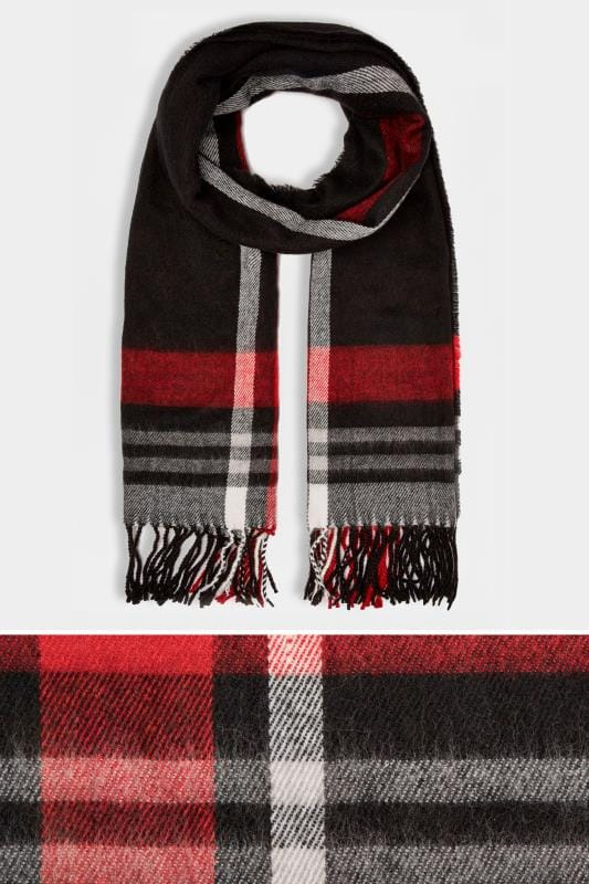 Plus Size Scarves Black & Red Check Oversized Blanket Scarf With Fringe Edge