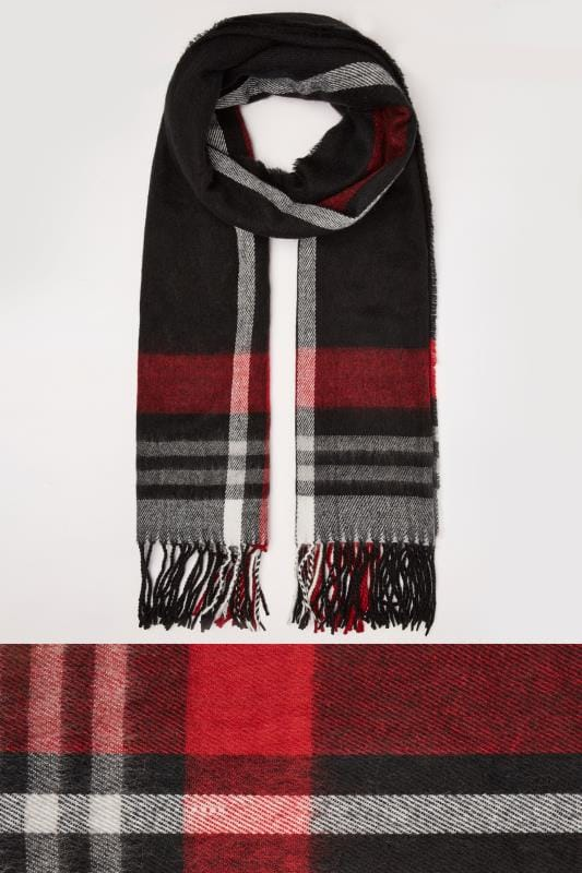 Scarves Black & Red Check Oversized Blanket Scarf With Fringe Edge 152470