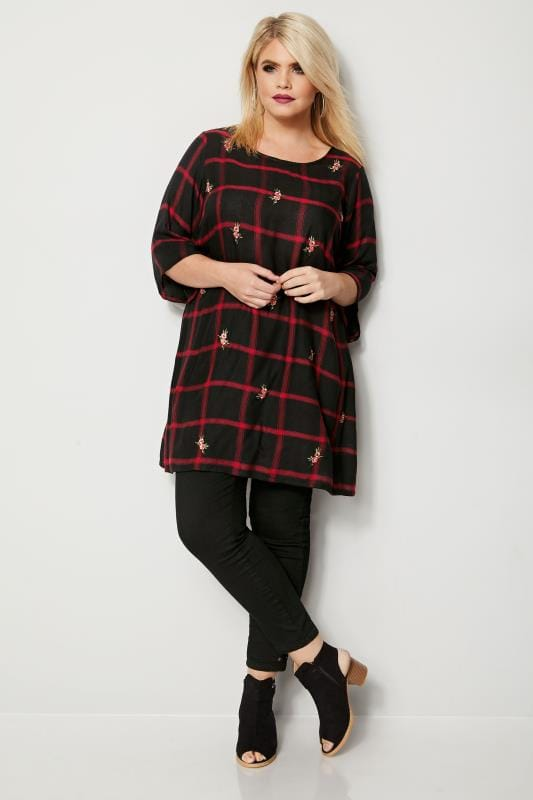 Black & Red Check Tunic With Embroidery