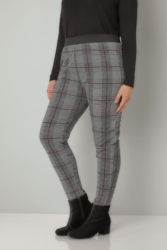 Black & Red Checked Slim Leg Trousers With Elasticated Waistband