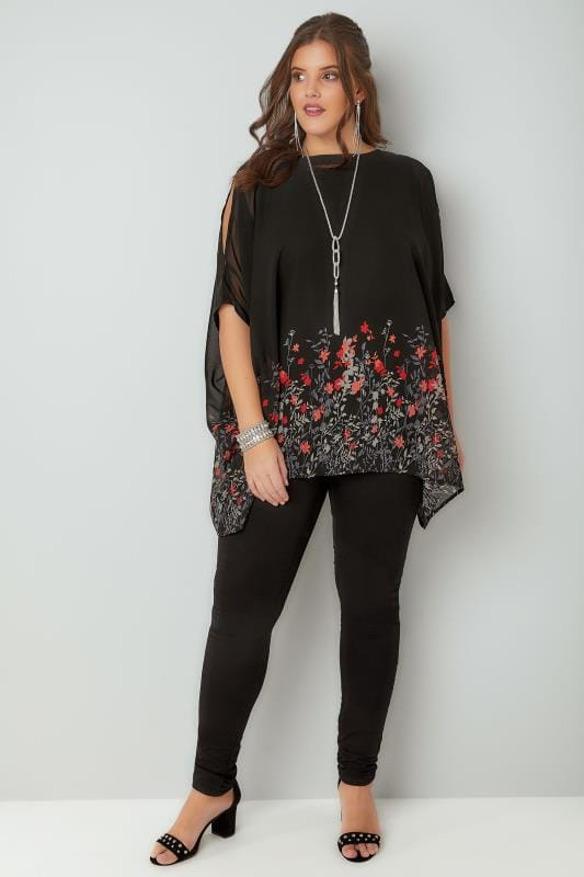 Black & Red Cold Shoulder Chiffon Cape Top With Floral Border Hem & Free Necklace