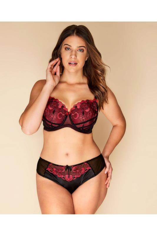 Plus Size Plus Size Briefs Black & Red Floral Embroidered Brazilian Briefs