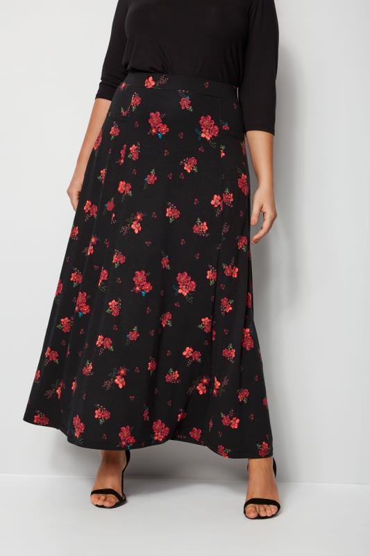 Plus Size Maxi Skirts Black & Red Floral Maxi Skirt With Pockets
