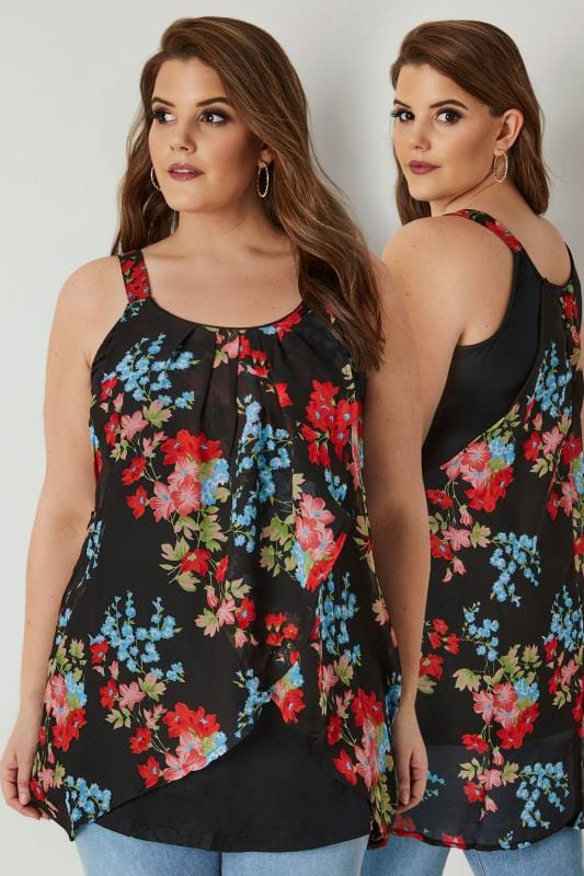Black & Red Floral Print Asymmetric Top